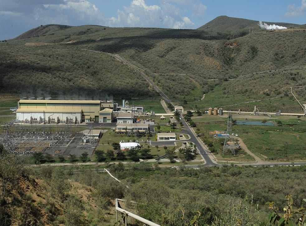 Africa's first geothermal power plant, KenGen Olkaria, 70 miles from Kenyan capital Nairobi