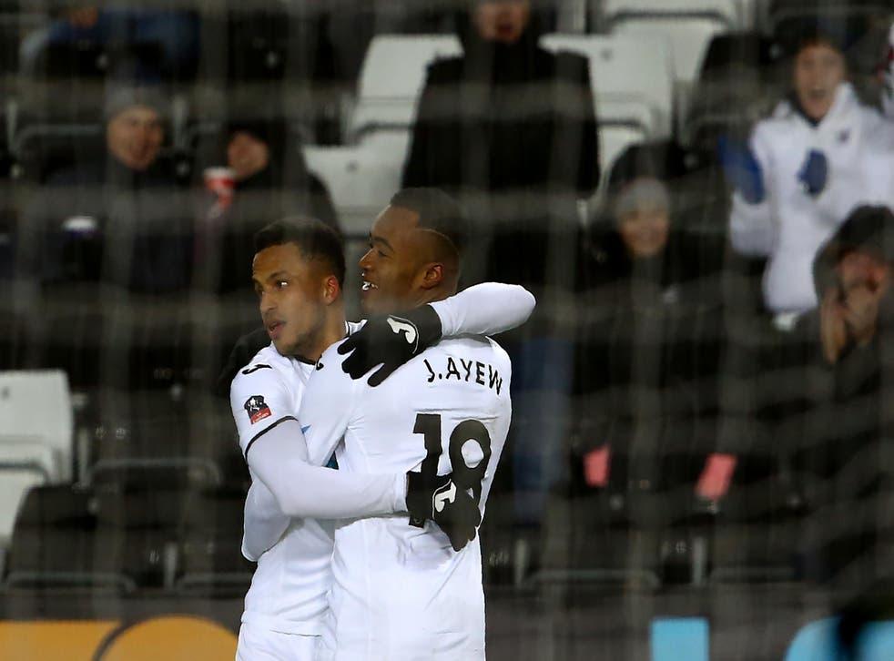 Jordan Ayew celebrates Swansea City's opener