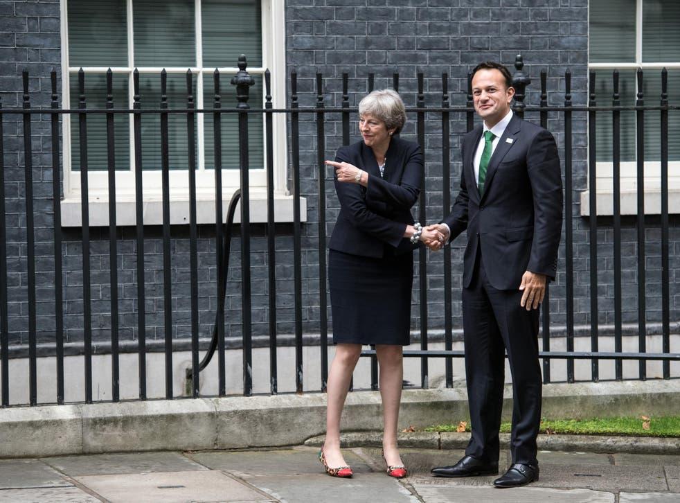 Theresa May, greets Ireland's Taoiseach, Leo Varadkar