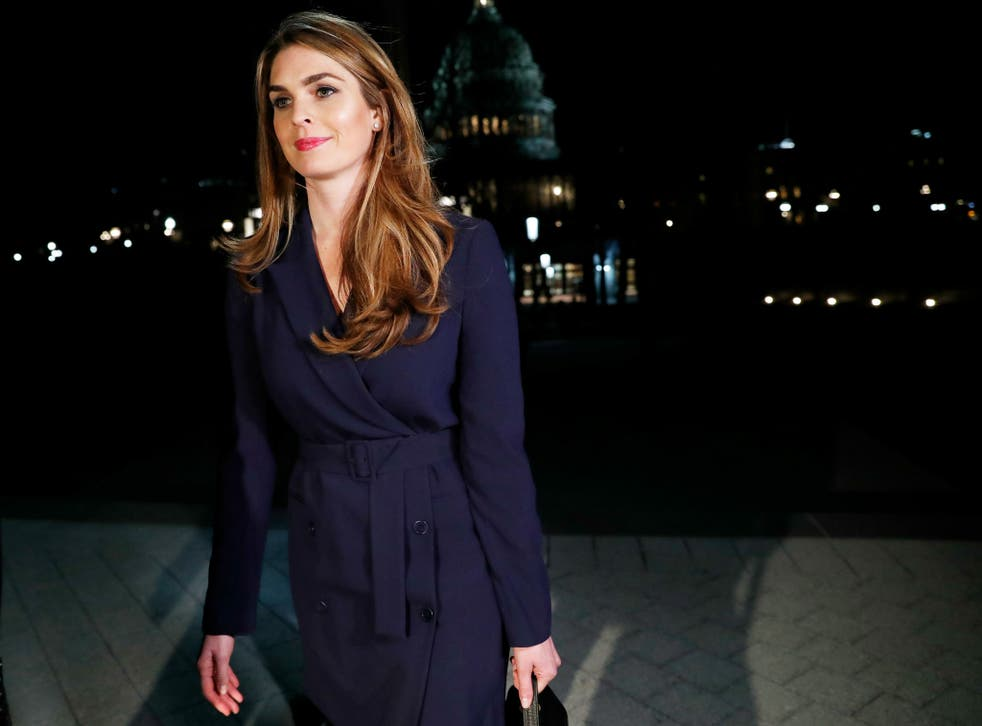 White House Communications Director Hope Hicks leaves the US Capitol after attending a House Intelligence Committee closed door meeting