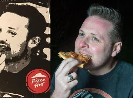 Nick Richardson who has claimed that a photo of him eating at a Pizza Hut restaurant was was used on their takeaway pizza boxes without his consent