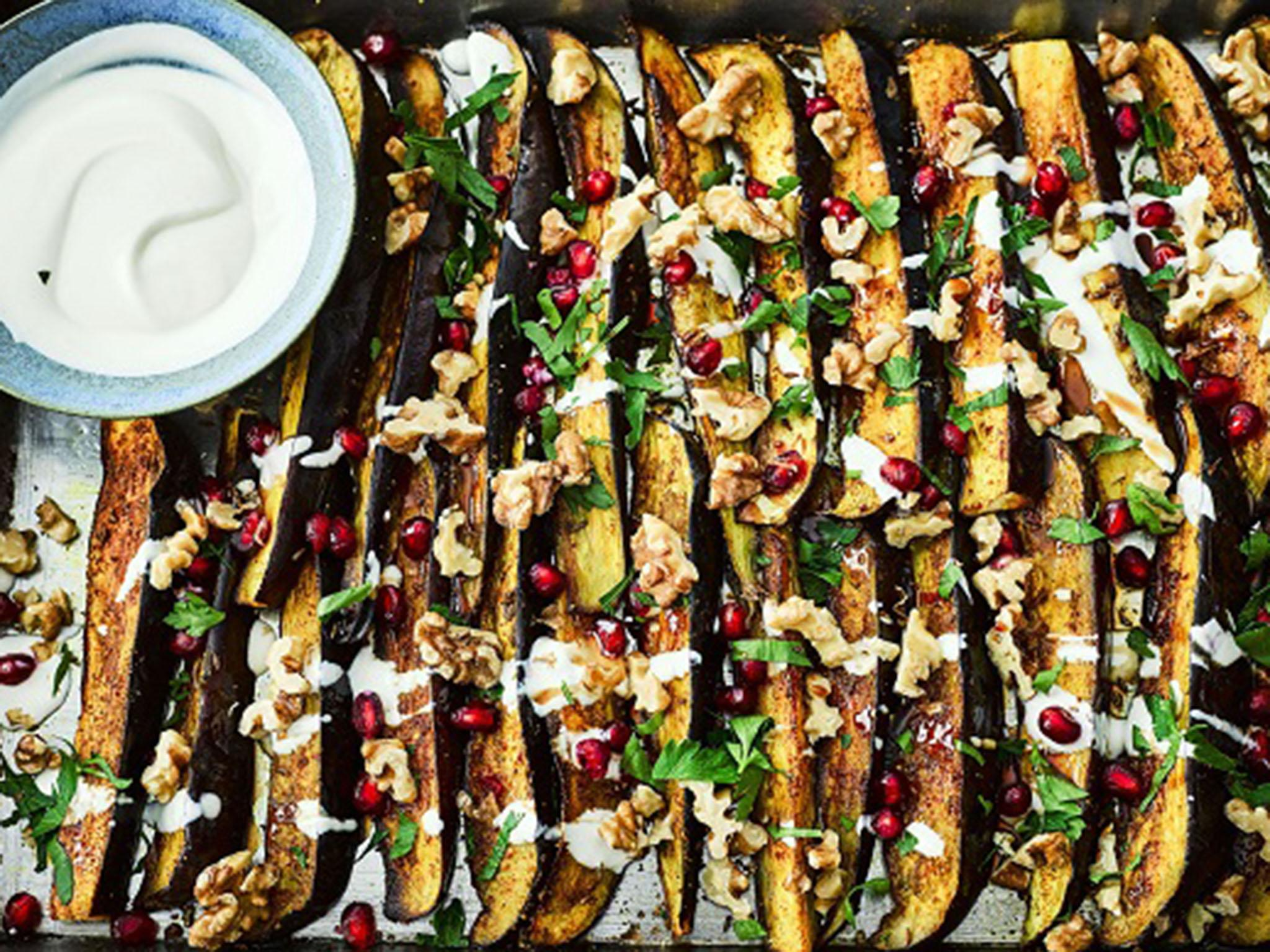 How to make spiced aubergines with walnuts, pomegranate and tahini yoghurt