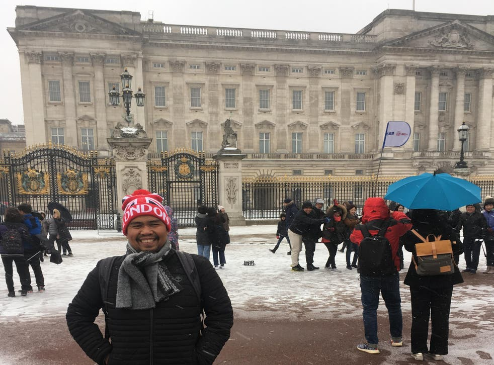 Indonesian winter: some visitors to London didn't mind attractions such as Buckingham Palace being dusted with snow