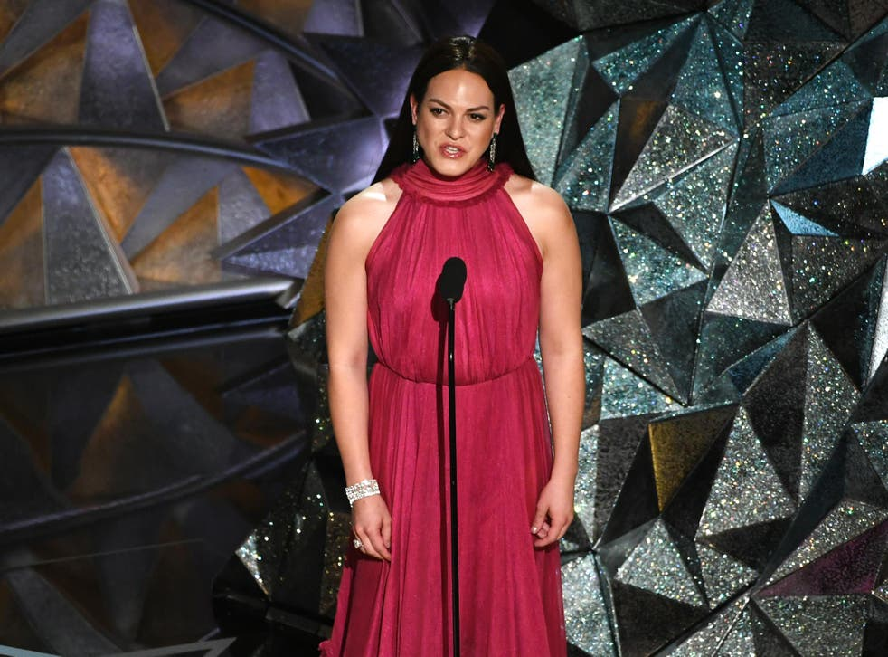 Daniela Vega speaks onstage during the 90th Annual Academy Awards