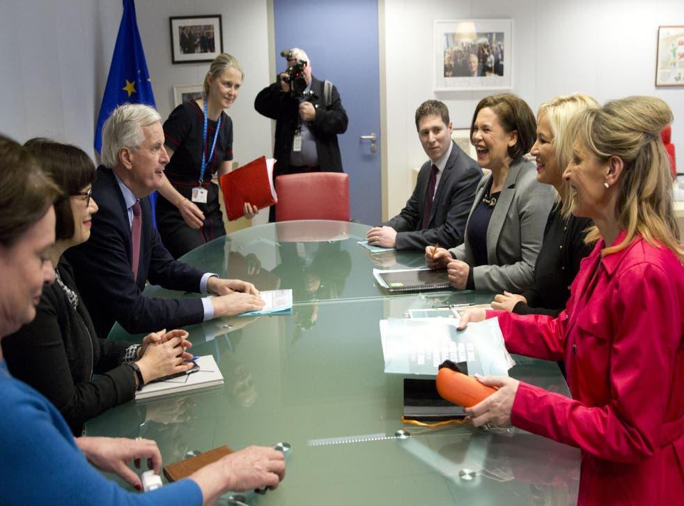 European Union chief Brexit negotiator Michel Barnier meets with Sinn Fein leader Mary Lou McDonald in Brussels