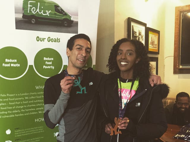 Marcus Roberts (left) after running 13 miles
