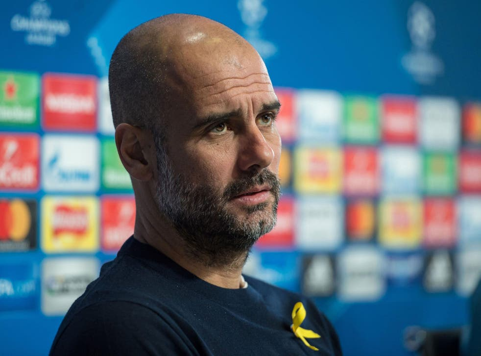Pep Guardiola will wear the yellow ribbon against Basel on Wednesday night