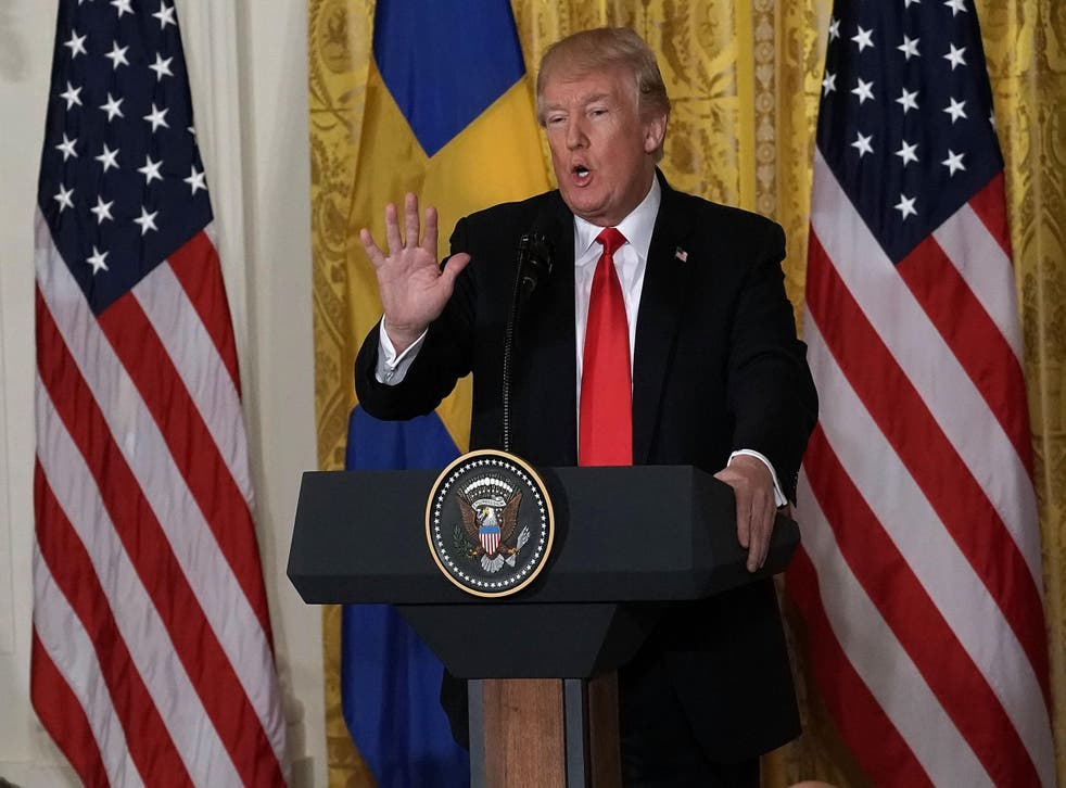 President Donald Trump speaks during a joint news conference with Swedish Prime Minister Stefan Lofven