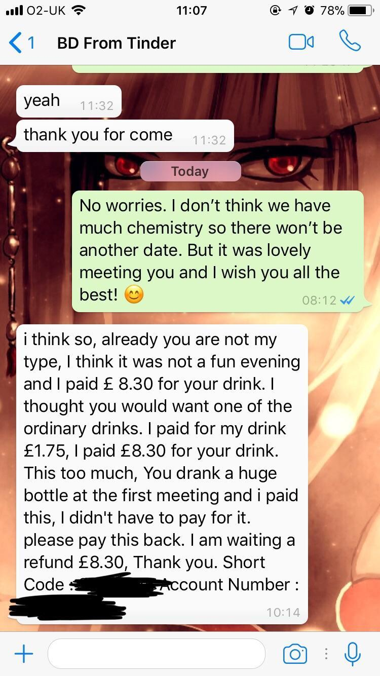 Rejected Tinder date asks for refund of £8 30 he spent on