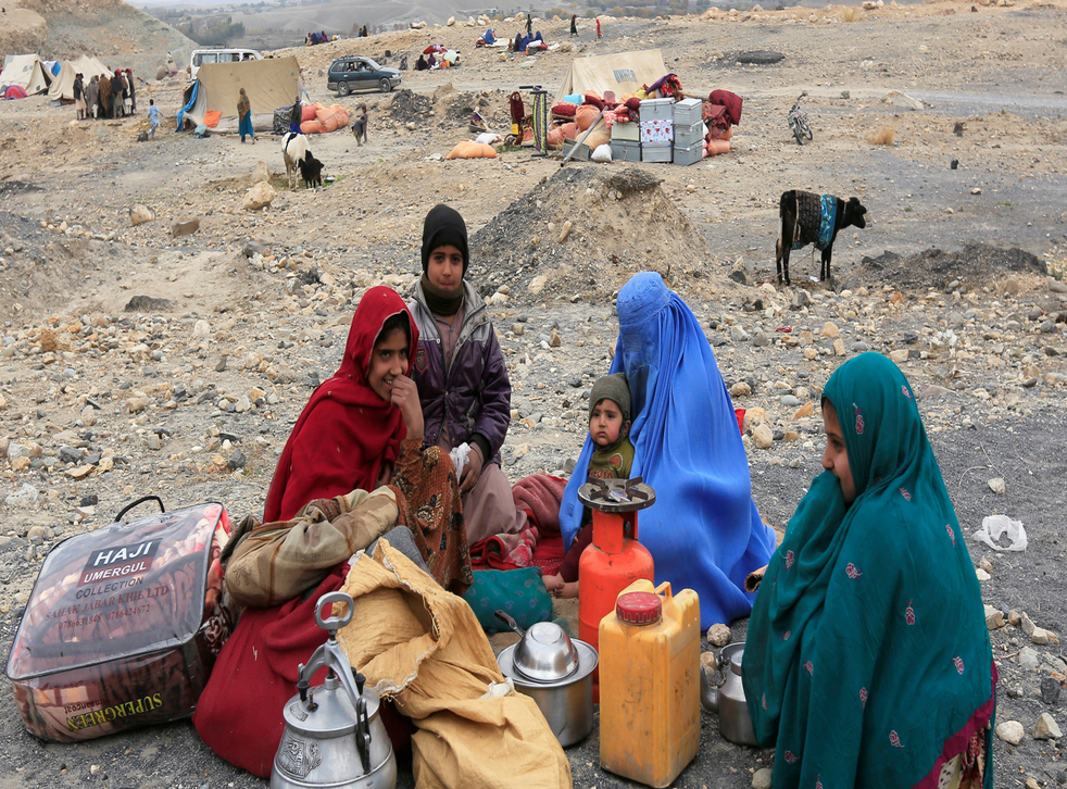 Internally displaced Afghan family who fleed from conflict. Picture: