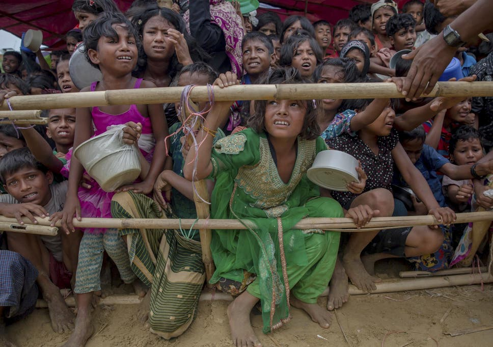 Rohingya Muslim Children Wait For Food Handouts Distributed By A Turkish Aid Agency At Thaingkhali Refugee