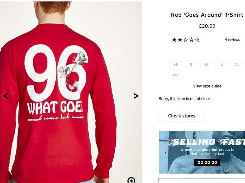 Topman stops selling red \'96\' T-shirt after fury from Liverpool fans ...
