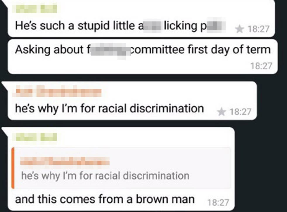 The private WhatsApp messages were shared online by a student