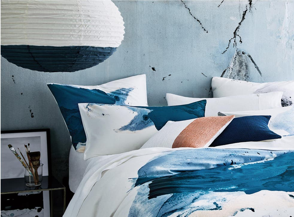 Bedding, such as that by Sheridan, sees brushstrokes move beyond the canvas