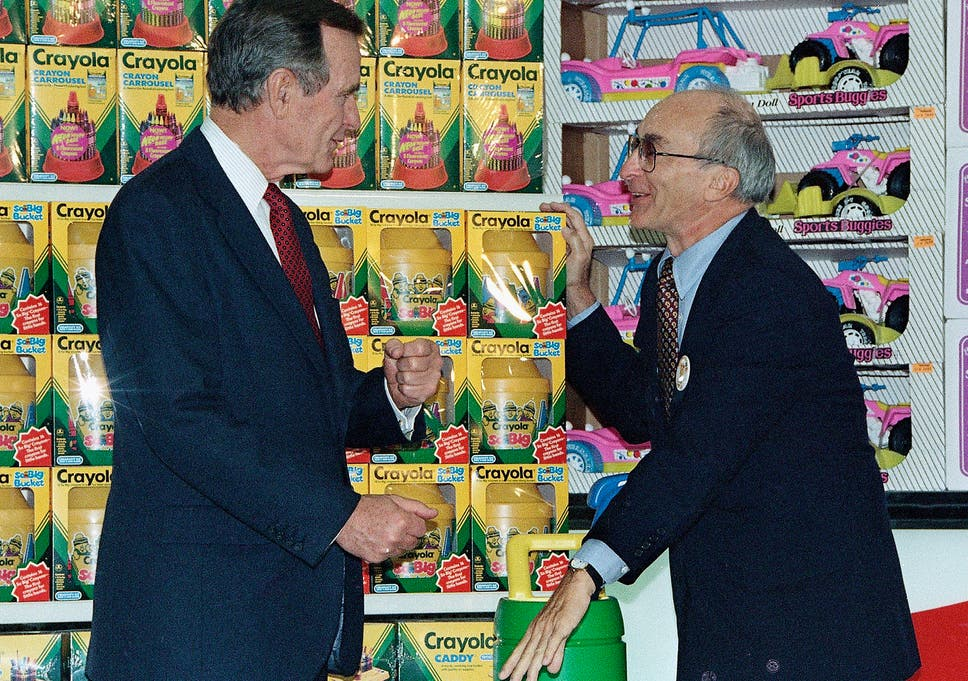 Charles Lazarus Right With Former Us President George H W Bush