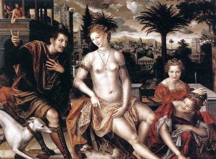 Bathsheba with David's messenger, as the king watches from his roof, 1562 Jan Massys