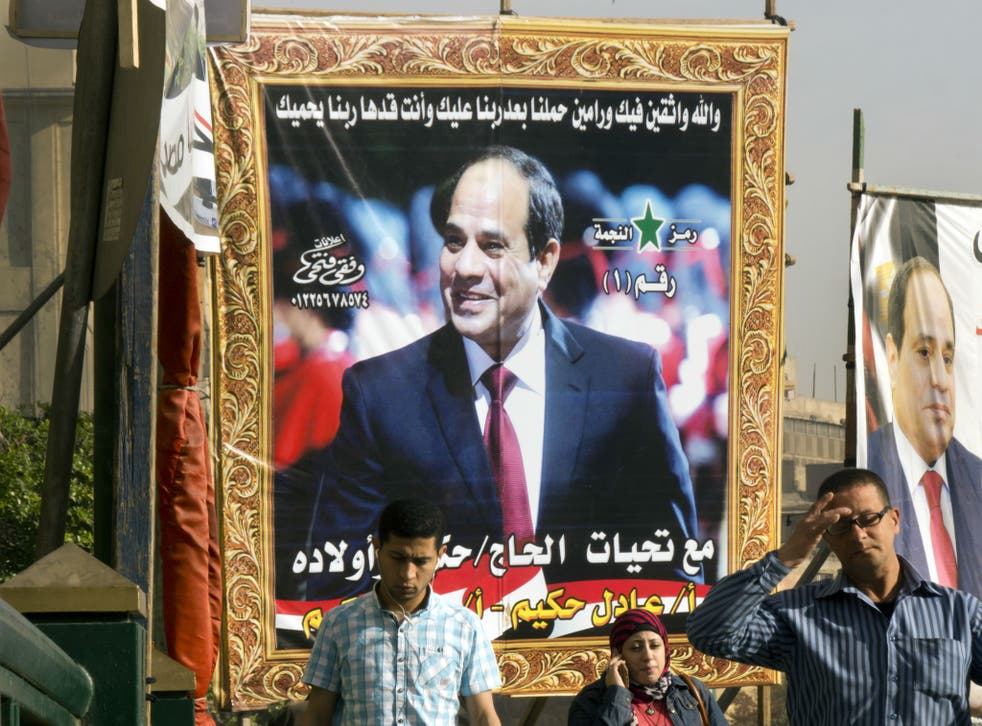 Election posters for Abdel Fattah al-Sisi are everywhere in Cairo