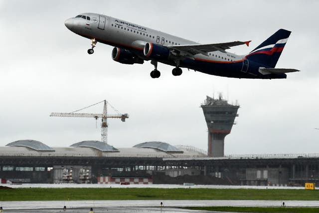 An Aeroflot's aircraft takes off at Moscow's Sheremetyevo international airport