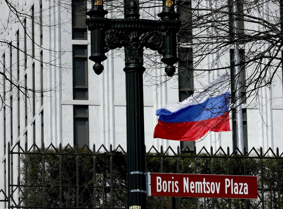 The Russian Federation flag flies in front of its embassy in Washington, DC.
