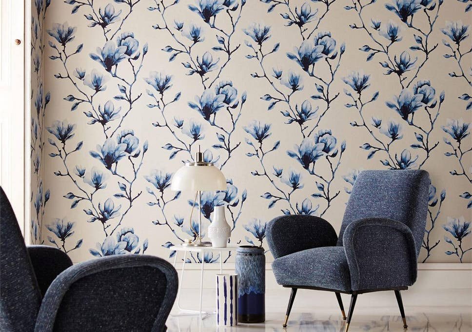 the lotus design from harlequin has the charm of antique chinoiserie papers