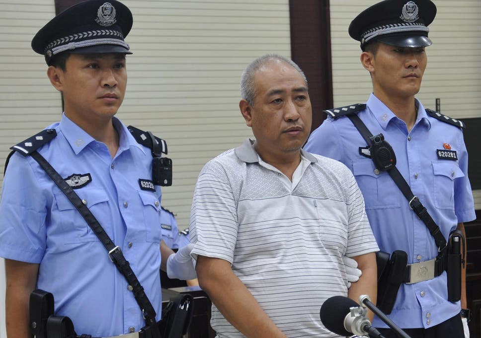 Serial killer Gao Chengyong pictured at his trial in Baiyin, Gansu province, China, in July 2017