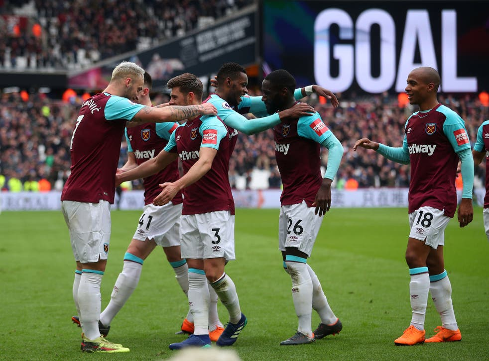West Ham players celebrate after Marko Arnautovic scores his second against Southampton
