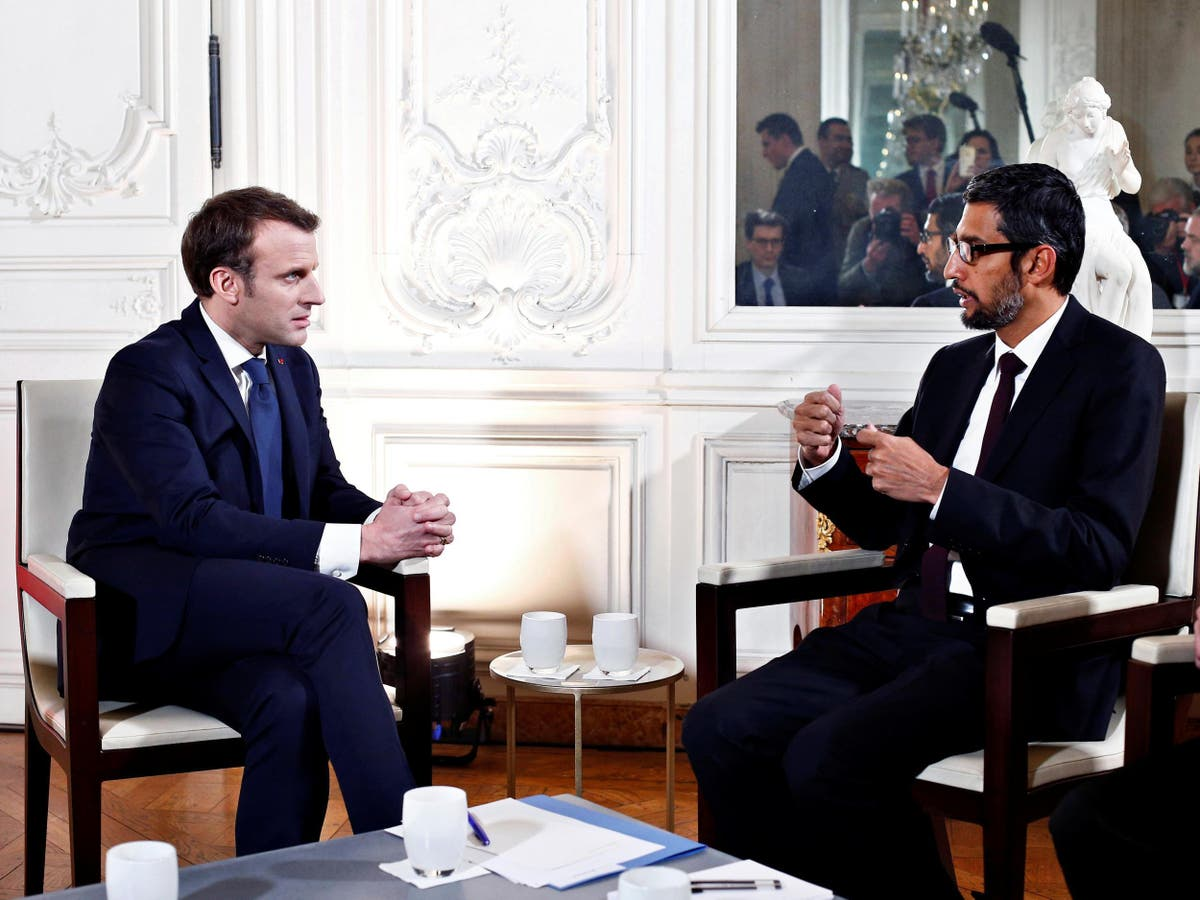Google and Facebook are becoming too big to be governed and could be dismantled, warns Macron