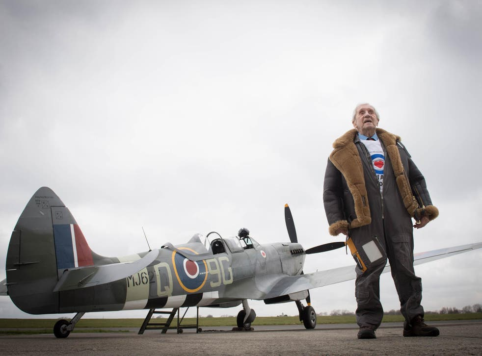 Former Spitfire pilot Squadron Leader Allan Scott, 96, prepares to fly in a Spitfire for the RAF centenary
