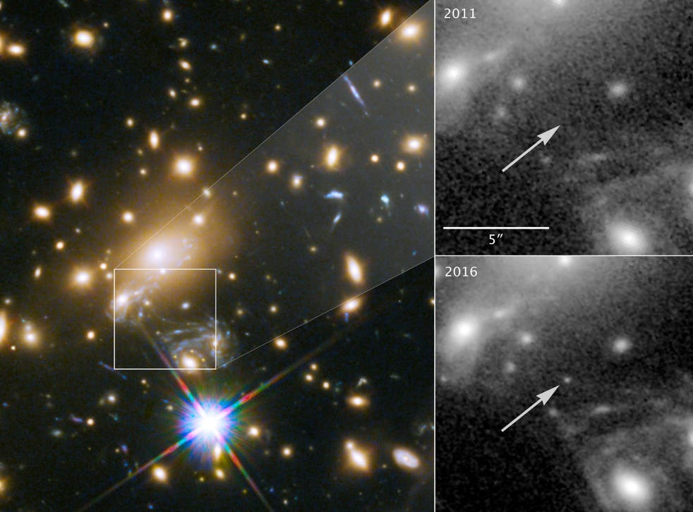 While monitoring a supernova, a team of astronomers noticed a point of light emerging, which they later realised was the most distant individual star ever identified