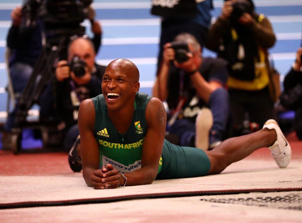 Manyonga at the 2018 world indoor championships in Birmingham