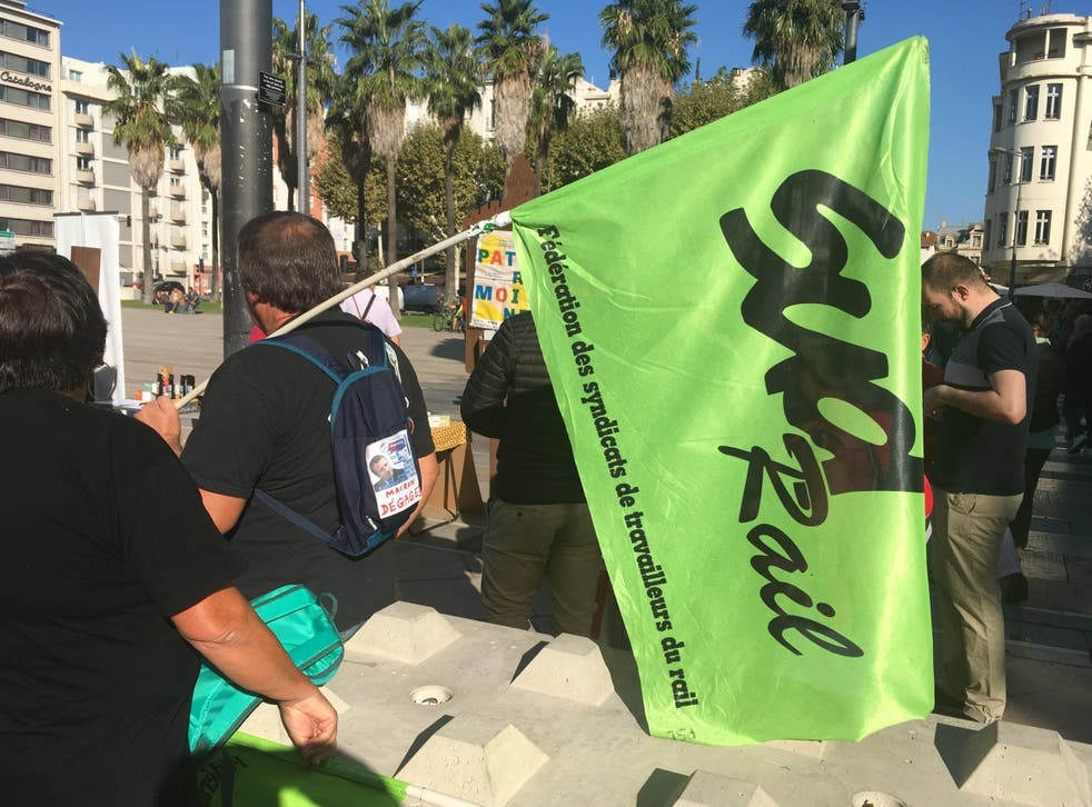 Go slow: rail workers on strike in the southern French city of Perpignan in September 2017