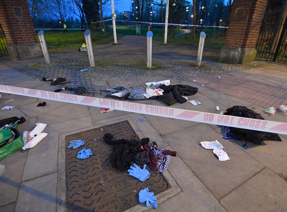 The scene in Grove Road, east London, after last Thursday when six teenagers were stabbed within 90 minutes
