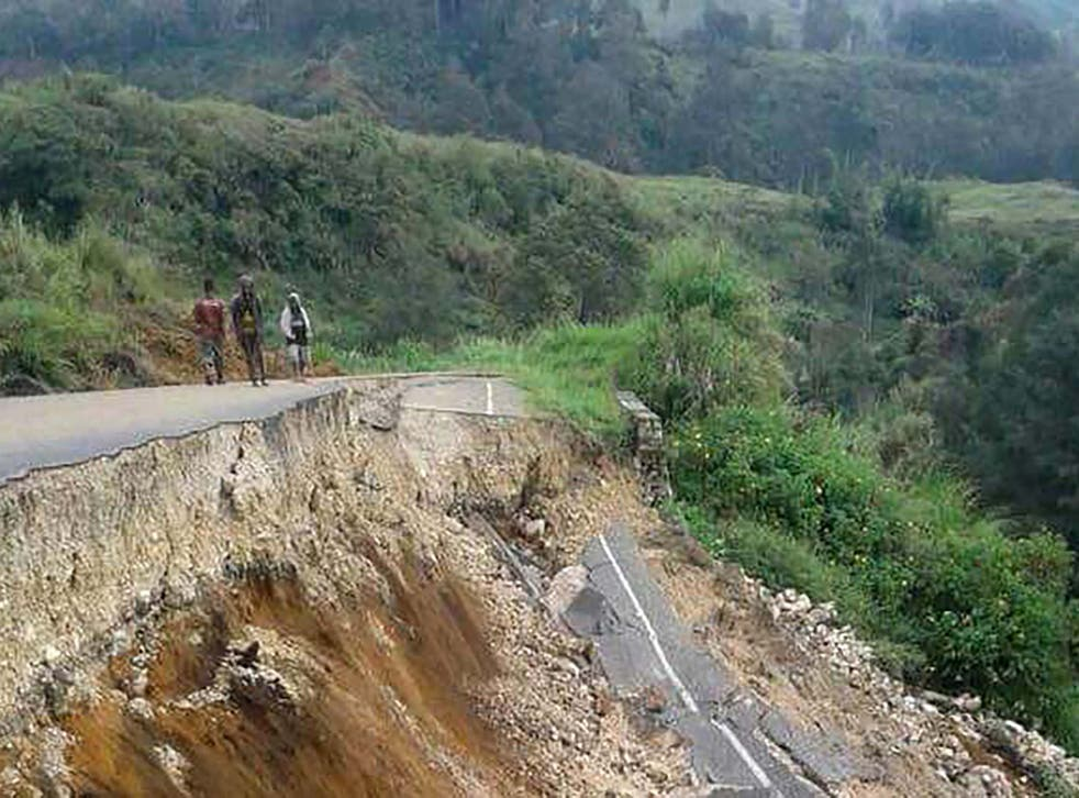 Damage to a road in Papua New Guinea after a 7.5 quake in February last year