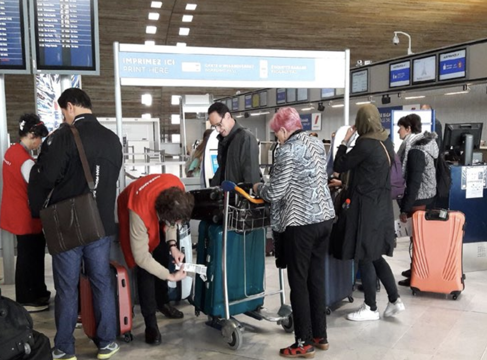 Limited options: Passengers caught up in the Air France strike on 7 April