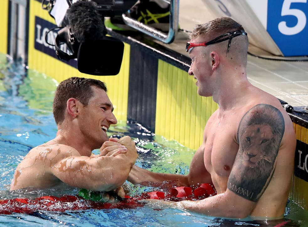 Peaty congratulates his South African rival after the race