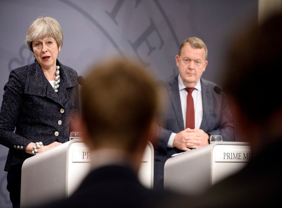 Theresa May at the joint press conference with Danish Prime Minister Lars Loekke Rasmussen at the Christiansborg Castle in Copenhagen