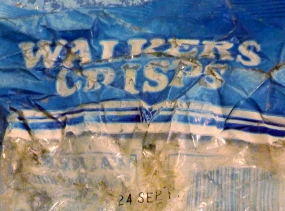 A packet of Walkers crisps believed to be from the 1980s found on a beach this year