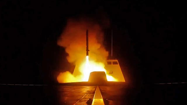 A picture released by the French Defence audiovisual communication and production unit (ECPAD) shows the launching of a cruise missile from a French military vessel in the Mediterranean sea towards targets in Syria overnight. The United States, France and Britain carried out a wave of punitive strikes against Bashar al-Assad's Syrian regime in the early hours of April 14 in response to alleged chemical weapons attacks.
