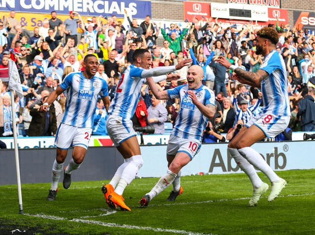 Huddersfield celebrate their last gasp win