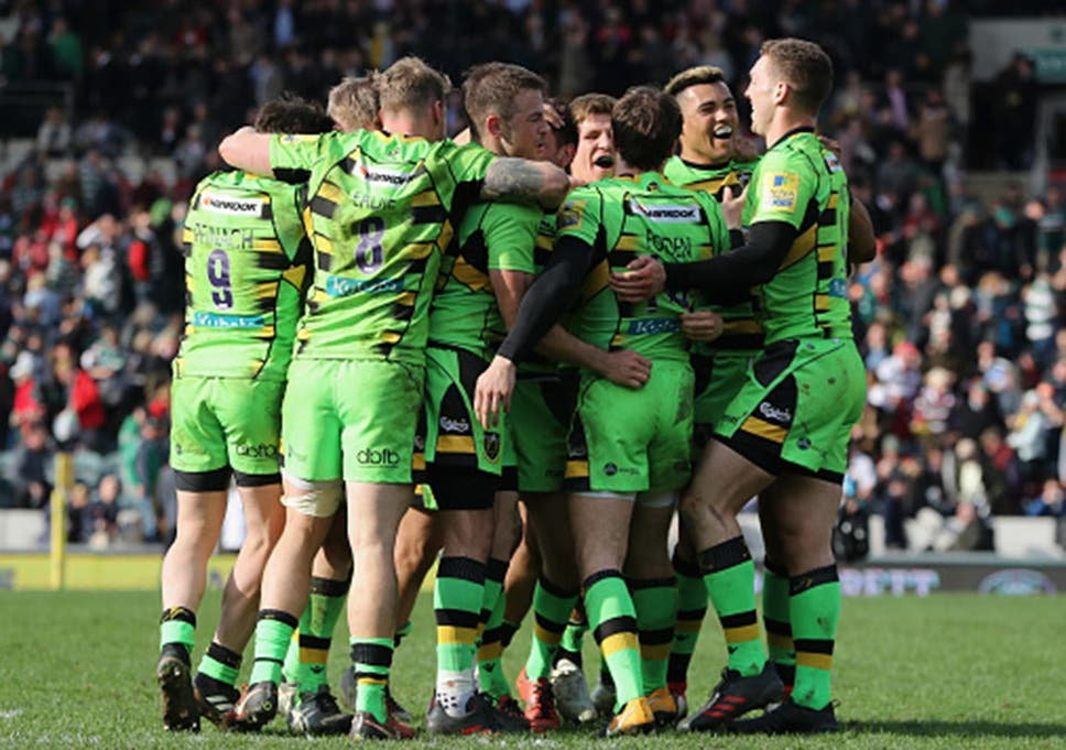 Northampton Saints Celebrate Their Surprise Victory Over Leicester