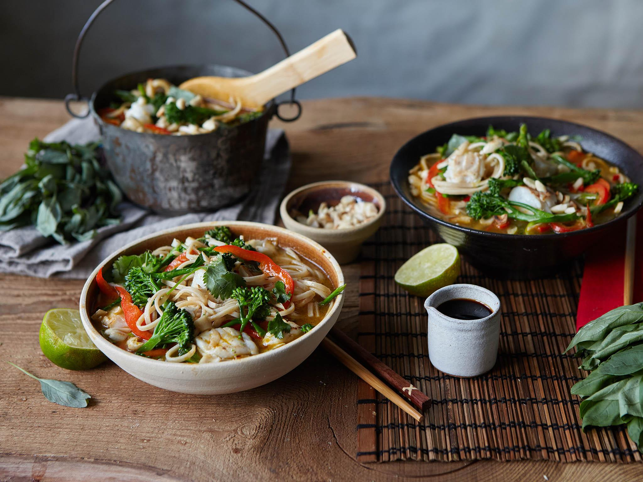 How to make a thai fish noodle soup in 35 minutes the for Thai fish soup