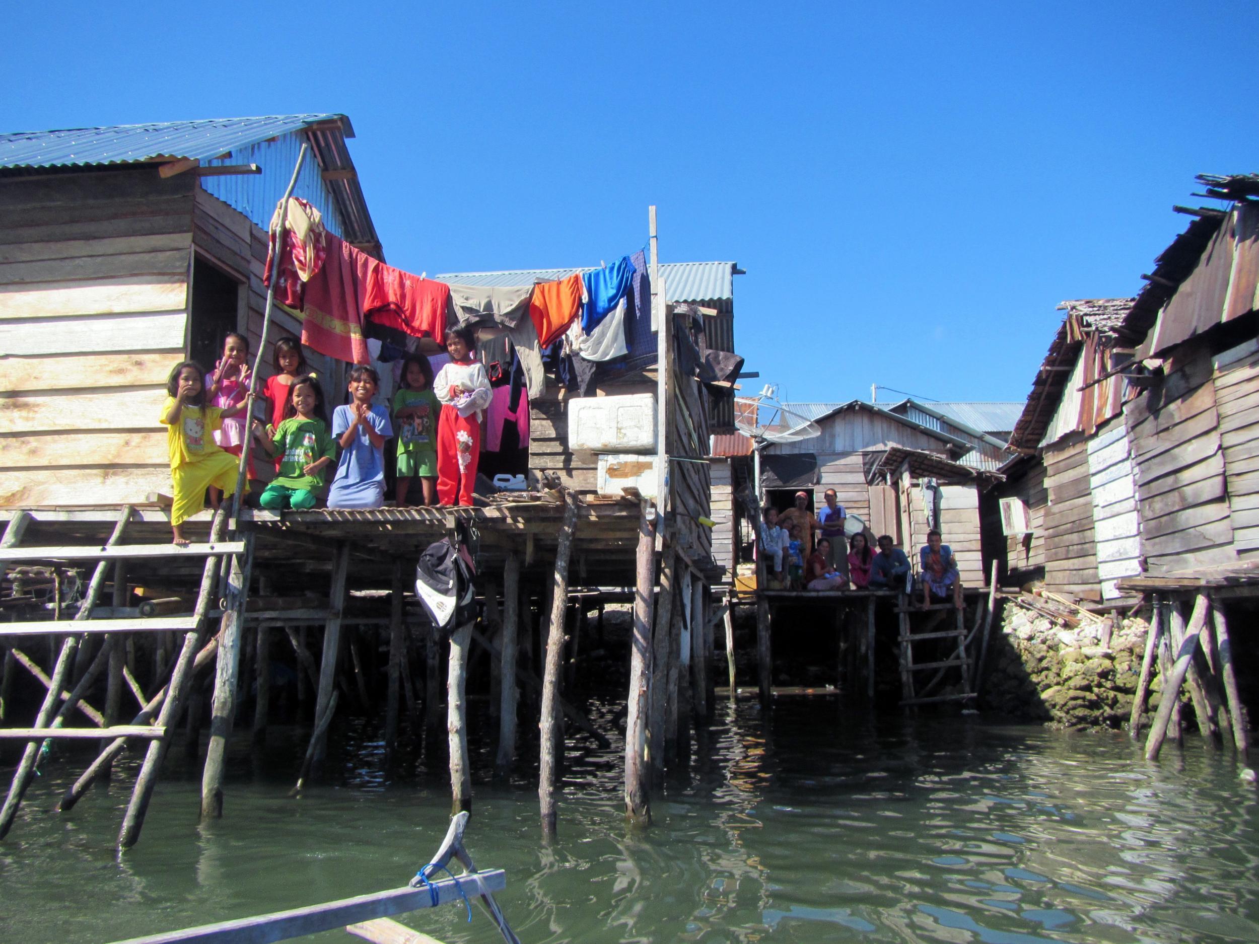Jaya Bakti homes from the water