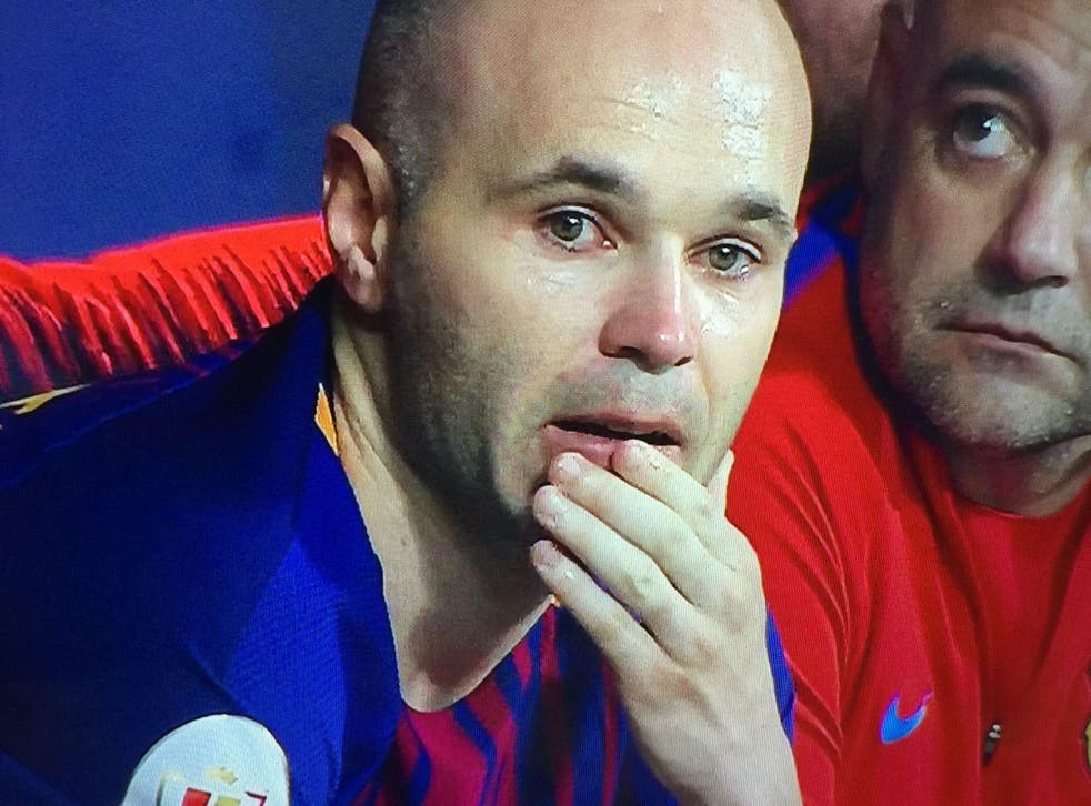 Andres Iniesta was visibly emotional after what will likely be his last-ever final with Barcelona