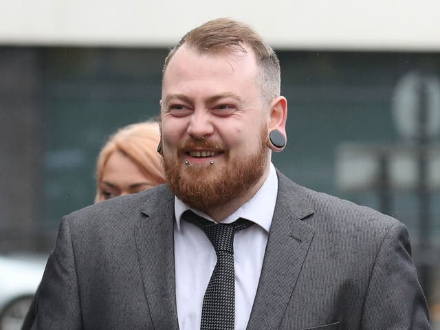 Mark Meechan arrives at Airdrie Sheriff Court for sentencing after he was found guilty of an offence under the Communications Act for posting a YouTube video of a dog giving Nazi salutes.
