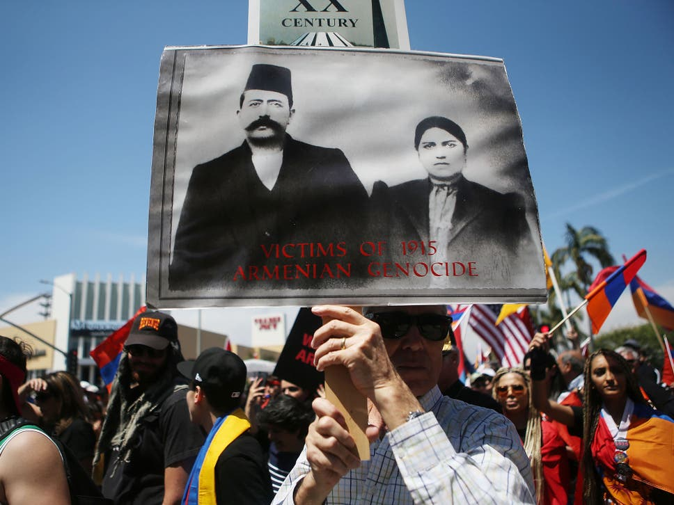 Demonstrators in Los Angeles commemorate the 103rd anniversary of the Armenian genocide