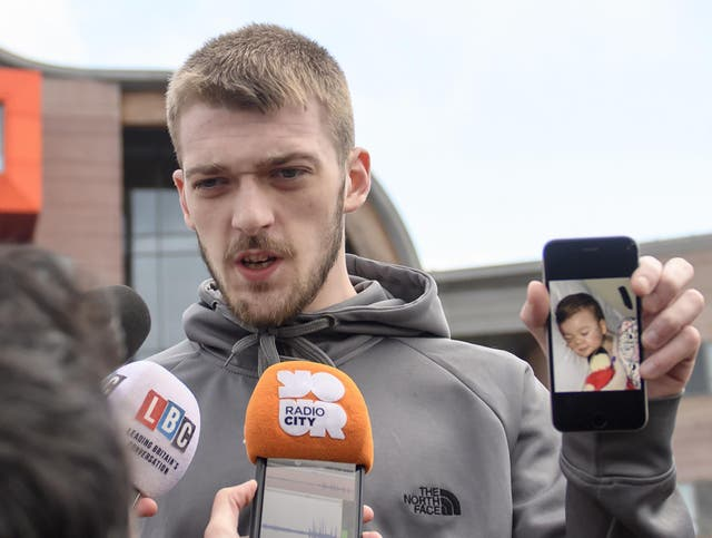 Alfie Evans's father Tom Evans was given the Blue Blood Award by Everton FC