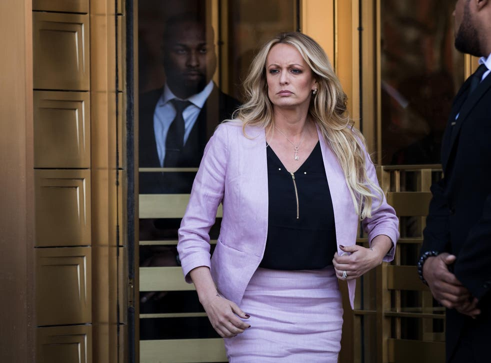 <p>Adult film star Stormy Daniels enters stage left</p>