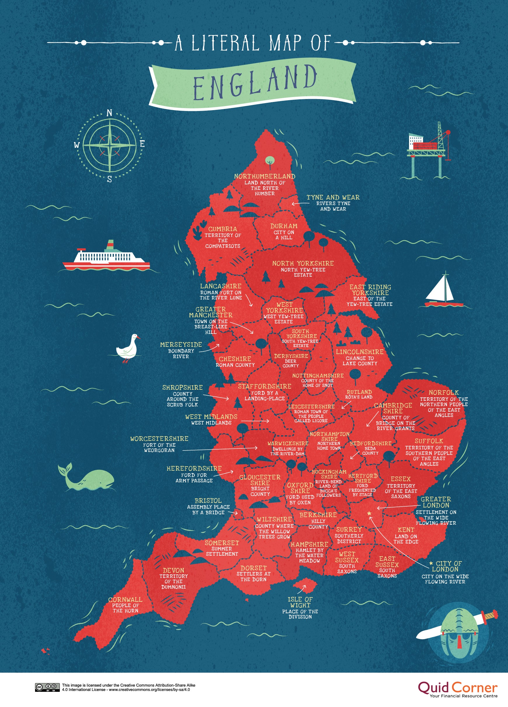 Map Of England Showing Cities And Towns.The Literal Meanings Behind Britain S Place Names Mapped Indy100