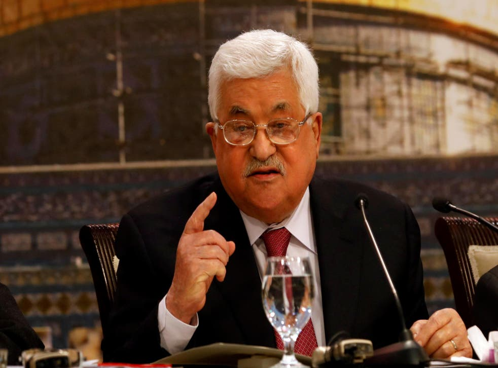 Palestinian President Mahmoud Abbas speaks during a Palestinian National Council meeting in Ramallah in the occupied West Bank on 30 April 2018