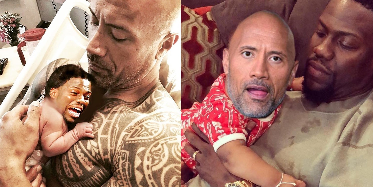 The Photoshop Battle Between The Rock And Kevin Hart Is